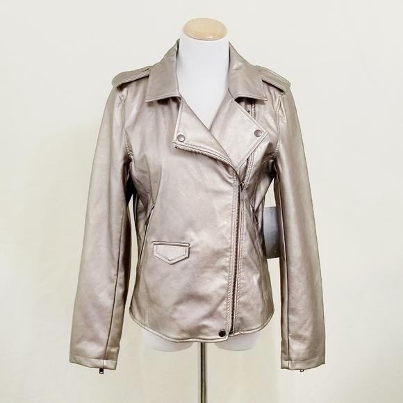 bagatelle Jackets & Blazers - Bagatelle metallic moto jacket silver gold leather